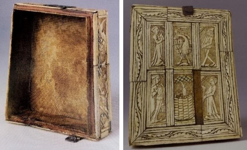Zwei Bilder zeigen noch einmal die Oberfläche des Minnekästchens und die mit Leinen ausgekleidete Innenseite.