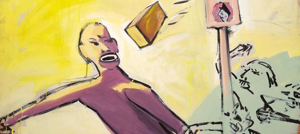 Das Öl-Gemälde zeigt eine Schwarze Person, nach der ein Ziegelstein aus dem unspezifischen Mob im Hintergrund geworfen wird. Eine Ampel zeigt grünes Licht.