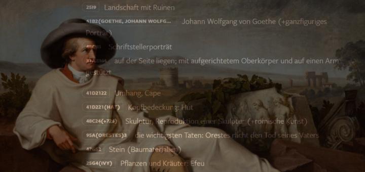 """Im Hintergrund ist ein Gemälde zu erahnen, im Vordergrund stehen verschiede mögliche verschlagwortungen wie """"Hut"""", """"Umhang"""" und """"Stein"""""""