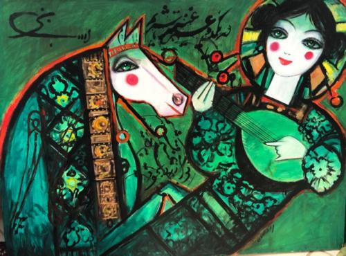 Die Malerei zeigt eine Frau mit Tambur und einem Pferd, welches neben ihr steht. Die Hauptfarbe des Werkes ist ein neonartiges Grün, was teils von den hellen Tönen der Gesichtsfarbe der Frau und des Pferdes, oder durch orangene und gelbe Akzentuierungen in der Bekleidung des Bildpersonals durchbrochen wird.
