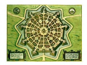 Plan de la cité de Palmanova, gravure peinte