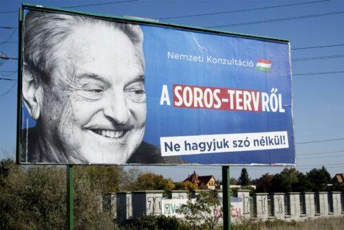 Plakat: Landesweite Umfrage zum Soros-Plan