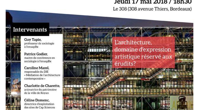 La culture architecturale au 308 | 17 mai à 18h30