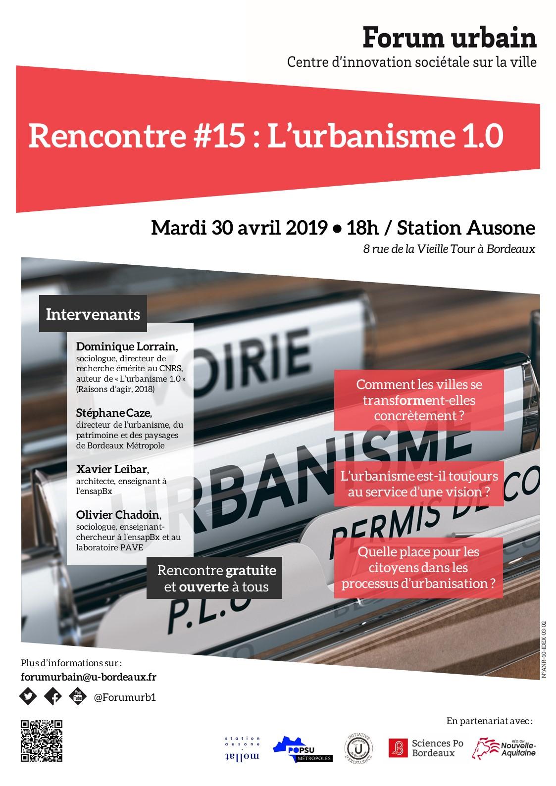 Rencontre #15 du forum urbain | 30/04/19
