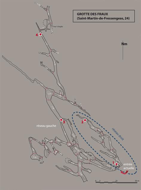 localisation des 4 capteurs de température (étoiles rouges) dans la groote des Fraux