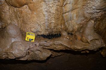 Capteur de température placé dans un plancher stalagmitique du secteur 3 de la cavité.