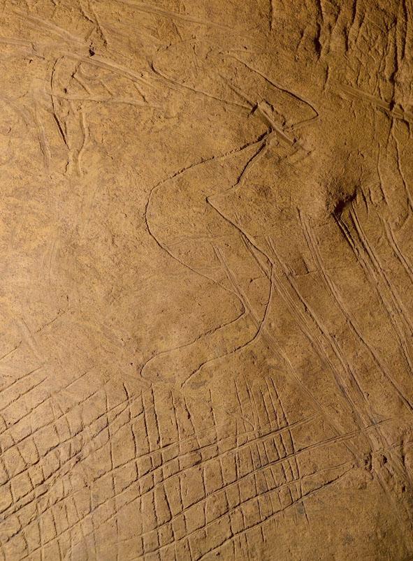 Panneau associant des motifs gravés à des tracés digités © RB/SP/CD.