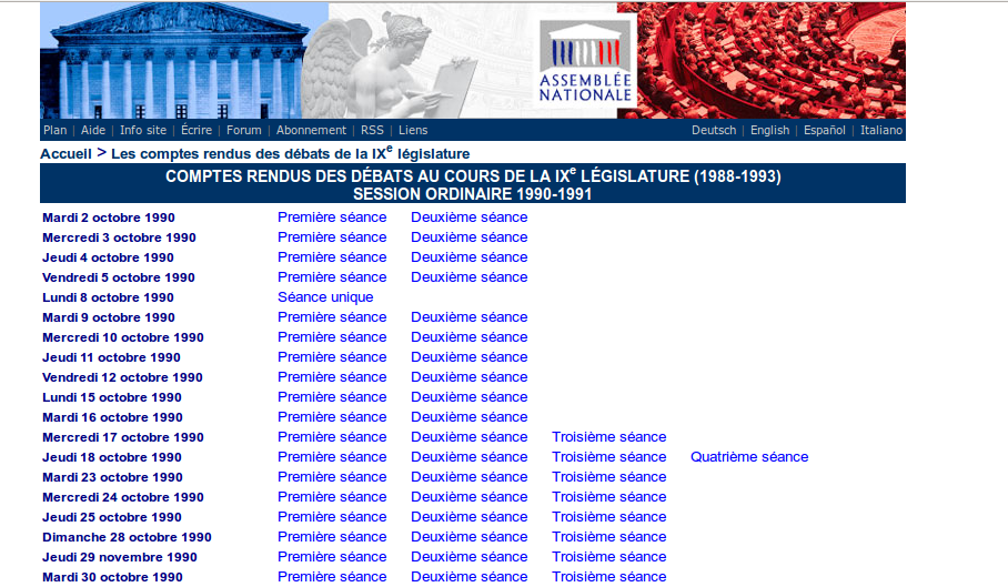 Page session ordinaire 2 octobre 1990-21 décembre 1990