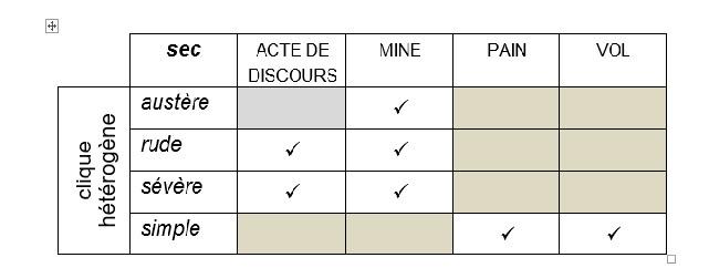 Tableau 1 : Analyse des contextes des synonymes dans une clique hétérogène