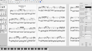 MuseScore 2.0 en plein écran, avec les palettes, l'inspecteur et le clavier