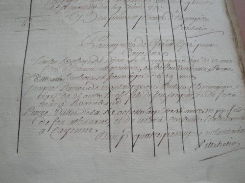 Les passagers de gré à gré sur le Villéhelio de La Rochelle pour Cayenne et Saint-Domingue, 1770.