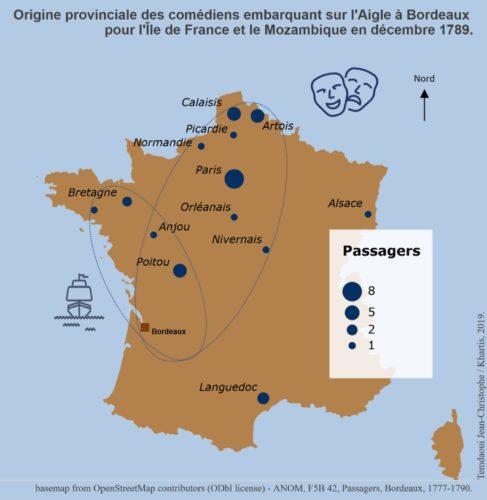 Origine provinciale des comédiens embarquant sur l'Aigle à Bordeaux (décembre 1789)