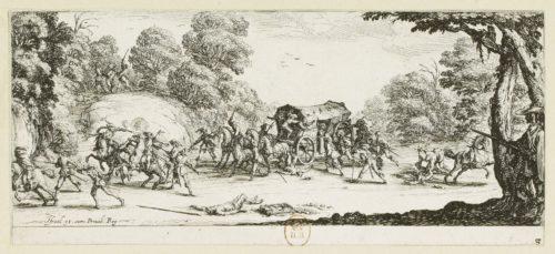 """L'attaque de la diligence"" dans Les grandes misères de la guerre, estampe par Jacques Callot (1592-1635)"