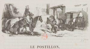 """""""Le Postillon"""" dans Les Français peints par eux-mêmes, estampe par Henry Monnier, 1840"""