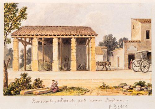 """""""Bouscat. Relais de poste avant Bordeaux"""", aquarelle du XIXe siècle"""