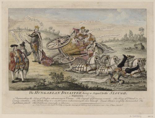 """""""La voiture dans laquelle était l'impératrice d'Allemagne est renversée et le postillon jeté à terre"""", gravure de 1757"""