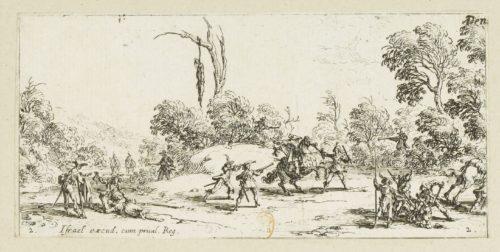 """""""Vol sur les grands chemins' dans Les petites misères de la guerre, estampe par Jacques Callot (1592-1635)"""