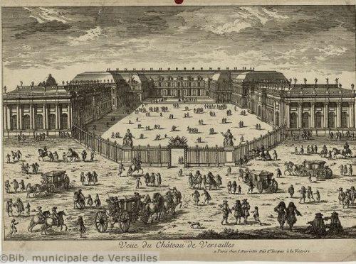 Vue de château de Versailles, gravure par Pierre-Jean Mariette