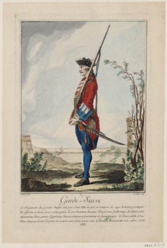 Garde-Suisse, dessin par Charles Eisen et gravure par A. M. de Fehrt, 1756