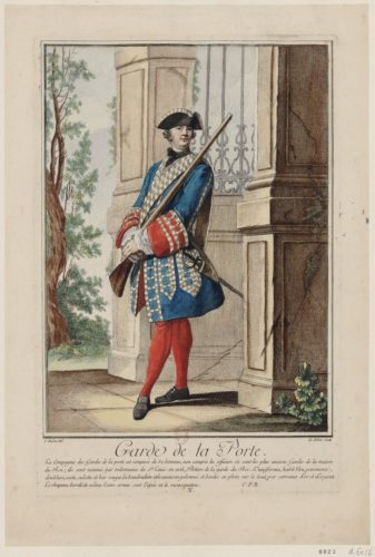 Garde de la Prévôté, dessin par Charles Eisen et gravure par A. M. de Fehrt, 1756