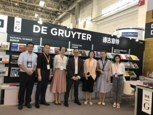 From left Wang Xin (Sciendo), Michael Du (Country Manager), Liu Fei Fei (Content Editor), Ben Ashcroft (Vice President, Commercial), Lervinia Swee (Marketing Manager), Max Meng (Sales Manager), Zhang Rui Xue (Sales Support), Beijing International Book Fair, Beijing, China, August 21-25, 2019  © Courtesy of Lervinia Swee.