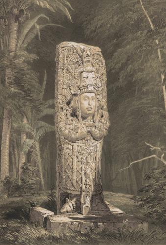 Lithographie de la stèle D de Copan, par Frederick Catherwood dans Views of Ancient Monuments in Central America, Chiapas, and Yucatan, 1844.