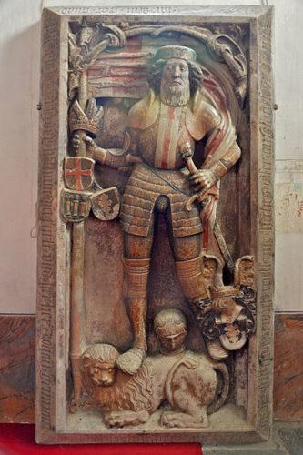 Épitaphe de Johann Geumann (mort en 1533) dans la chapelle Geumann de l'église paroissiale St. Salvator und Allerheiligen à Millstatt, Autriche