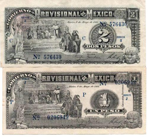 Avers 1 et 2 pesos 1916