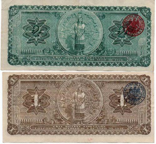 Revers 1 et 2 pesos 1916