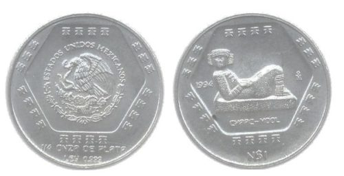 1 nuevo peso 1994 Chaac Mool