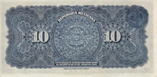 Revers 10 pesos 1915