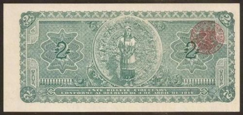 Revers 2 pesos 1916