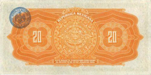 Revers 20 pesos 1915