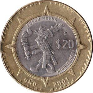 Revers 20 pesos Xiuhtecuhtli