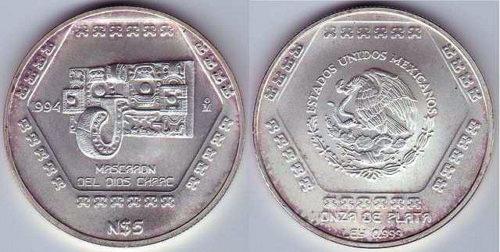 5 nuevos pesos 1994 Mascaron del dios Chaac