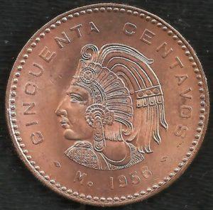 Revers 50 centavos 1956