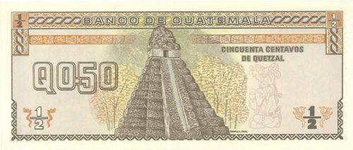 Verso 50 centavos de Quetzal