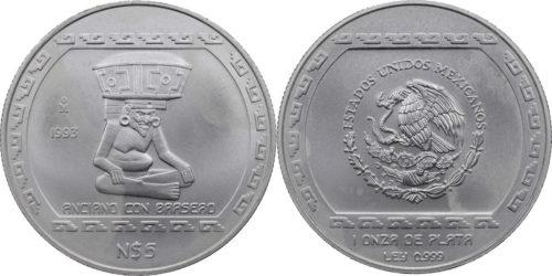 5 nuevos pesos Anciano con brasero