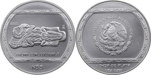 5 nuevos pesos Palma con cocodrilo