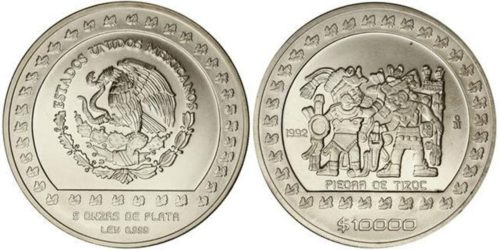 10 000 pesos 1992 : Piedra de Tizoc