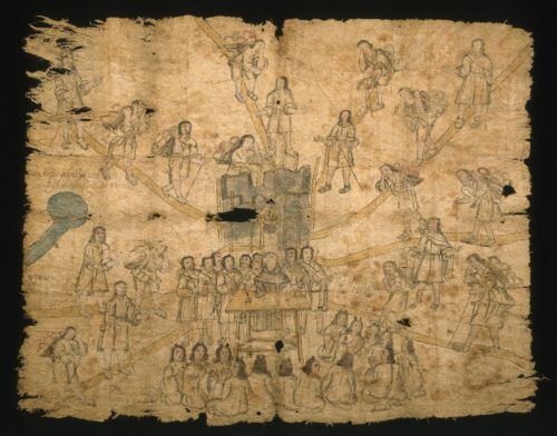 Nahuatl. Codex San Pedro Atlapolco, 18th century. Ink and watercolor on amate paper, 30 5/8 x 38 5/16 in. (77.8 x 97.3 cm). Brooklyn Museum, Ella C. Woodward Memorial Fund, 41.1249. Creative Commons-BY (Photo: Brooklyn Museum, 41.1249_SL1.jpg)