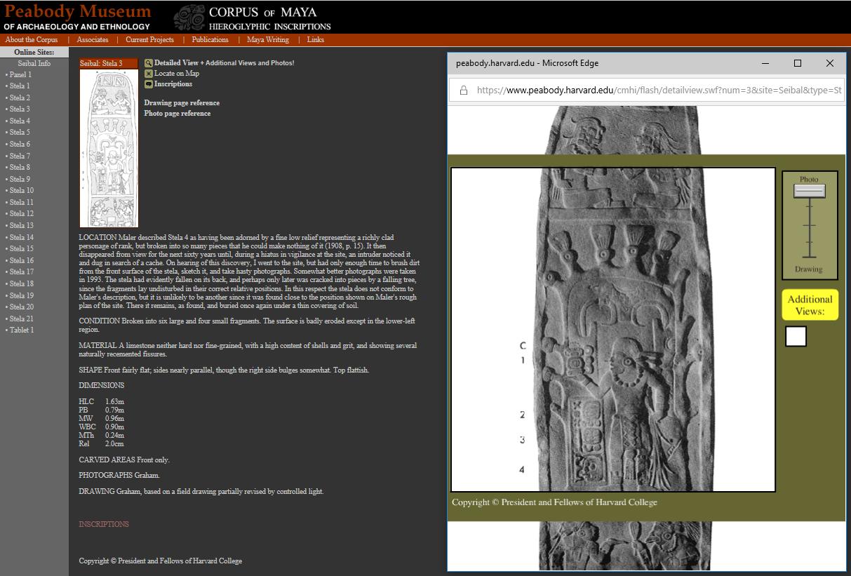 Exemple de la fiche de Seibal: Stela 3 avec photographie de la stèle