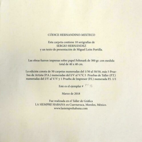 Códice Hernandino-Mixteco : justification de tirage