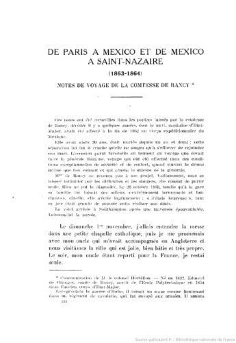 De Paris à Mexico et de Mexico à Saint-Nazaire (1863-1864)