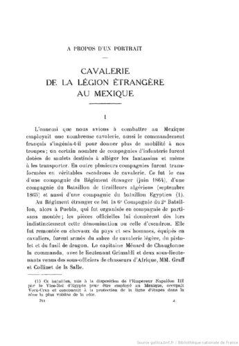 A propos d'un portrait : Cavalerie de la Légion étrangère au Mexique