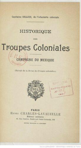 Historique des troupes coloniales : campagne du Mexique