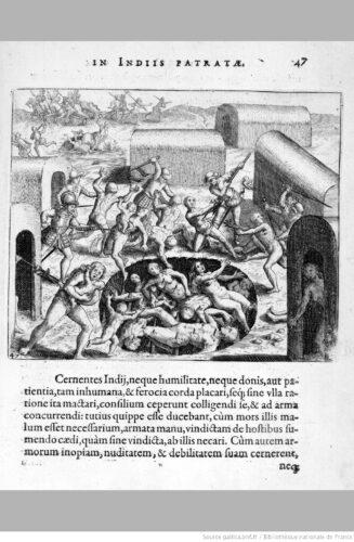 Narratio regionum Indicarum per Hispanos quosdam devastatarum...,  Francfort-sur-le-Main : T. de Bry, 1598.