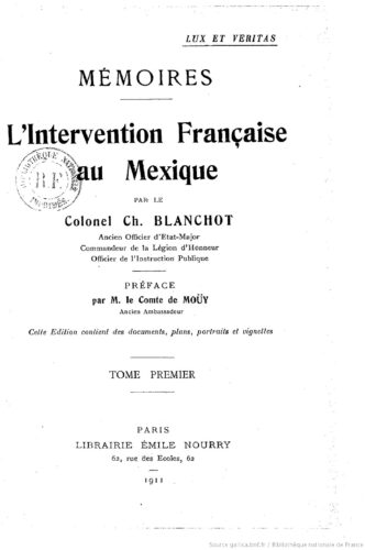 L'intervention française au Mexique : mémoires