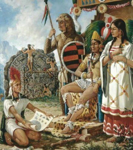 Sculpture de la pierre du soleil, calendrier aztèque, qui aurait été commandée par Moctezuma Xocoyotzin qui regarde le modèle de l'oeuvre.