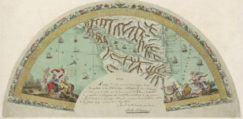 Gravure pour un éventail. Carte du lac Nicaragua et carte de l'Amérique du Nord avec le Pacifique, pour soutenir le projet de Martin de La Bastide en faveur du percement du Canal Nicaragua